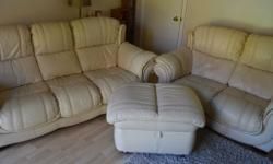 2 cream leather sofas (2 seater and 3 seater) for sale