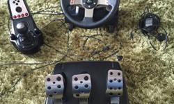 Logitech G27 steering wheel for sale. Compatible with