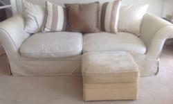 3 and 2 seater sofas for sale in natural calico with