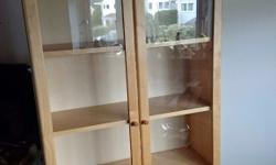 Ikea Billy display cabinet with glass doors. Birchwood