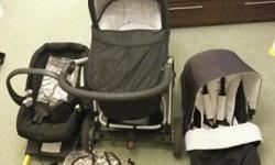 Mamas and papas black sola travel system. Includes