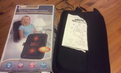 Back massage cushion with soothing heat. Simply plug in