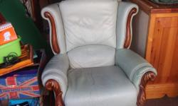 mint green leather armchair good condition bargain 10