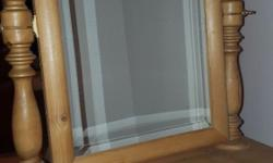 Solid wooden pine swing mirror. Sits on top of dresser