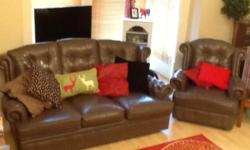 Lovely brown 3 seater sofa and armchair in the