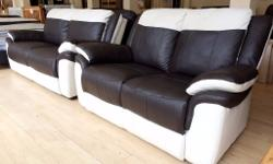 Cream & Brown Leather Suite - 01332 363992 3 Seater + 2