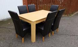 New Oak Veneer Dining Table 150cm & 6 Faux Leather High