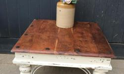 Small square solid hard wood coffee table. Cream shabby