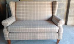 Next cheque pattern two seat high back settee,10 months