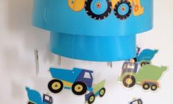 Little digger lamp shade. Also have curtains, picture,