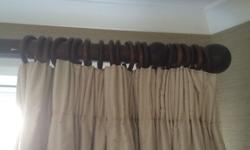 3m long 3 inch thick oak curtain pole with matching