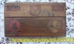 Old Italian wooden cigarette case dated 1944. Colection