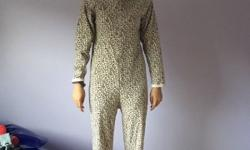 Cheetah onsie, size: ages 13. With covered feet.