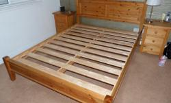Pine king size double bed for sale. Immaculate. All