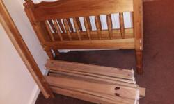 Pine wooden single bed with mattress, in good clean