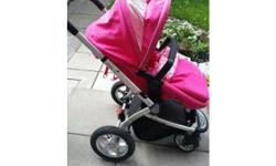 Pink mothercare my4 pram, can face both ways by turning