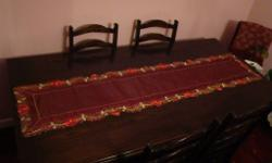 For Sale is a Red Satin Type Table Runner / Table
