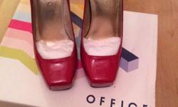 Red 'Office' square toe heels. Previously warn twice,