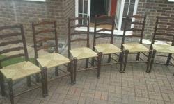 6 antique newly refurbished rush seated chairs. Set of