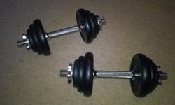 Set of dumbbells, good condition weights are as follows