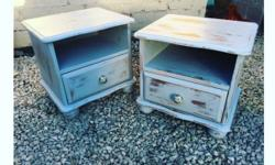 A gorgeous set of bedside tables in a pale Wedgewood