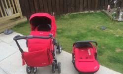 red silver cross travel system with chassis. This