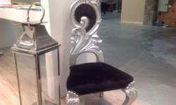 NEW. Stunning decrotive high back silver gilt chairs.