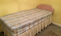 Spare bed. Hardly used, unmarked mattress. Single divan