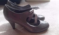 grey patent heels size 6 £5 coral heels size 5 £5 suede