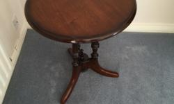 Small dark wood round table VGC height 53 cm width 50