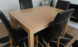 Small pine effect dining table and 4 brown faux leather