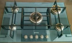 SMEG hob, five burners, blue/green glass, automatic