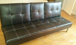Sofa Bed Black Faux Leather Click Clack Double Couch 2