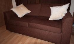 SOFA BED - BROWN FABRIC - WITH A SUBTLE GREEN FLECK.