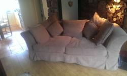 Beige sofa for sale with scatter cushions, good