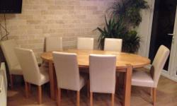 Solid Oak Dining Table with eight Leather Chairs Superb