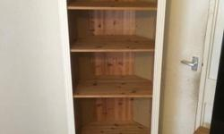 Solid pine corner unit, 3 shelves with 2 drawers, has