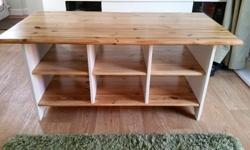 Solid pine unit / table with storage box shelves
