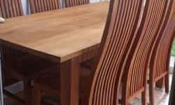 Solid wood, natural finish, table and six chairs, they