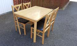 Solid Wood Table & 4 Rubber Wood Cross Back Dining