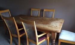 Hi I'm selling a solid wood table and 6 chairs not sure