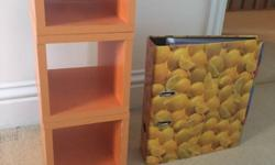 Wooden storage cubes in orange (folder to show size).