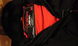 mens superdry windcheater in black with orange fleece