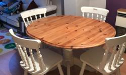 Shabby Chic style Table and 4 chairs Solid wood Bargain
