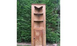 Tall pine corner cupboard with two fixed shelves over