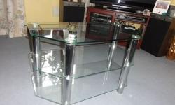 3 Tier Corner Glass TV Stand with Crome Legs. Will fit
