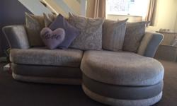 Three seater scatter cushion sofa with built in foot
