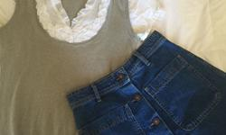 Zara denim skirt with buttons down the front and
