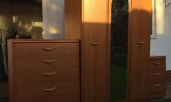 Triple Wardrobe + two sets of draws - wood effect -