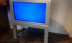 "Philips 36"" Analogue TV with stand and remote control."